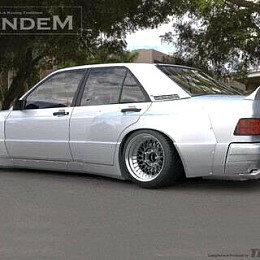Image of a Jeep Wrangler Mercedes Benz W201 190E Rocket bunny Pandem Style Rear Wing Spoiler Body kit