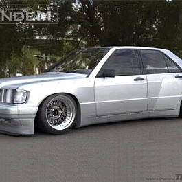 Image of a Jeep Wrangler Mercedes Benz W201 190E Rocket Bunny Pandem Style Full Kit